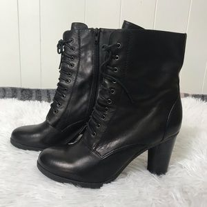 Staccato - Leather Lace Up Black Heel Boots Size 7